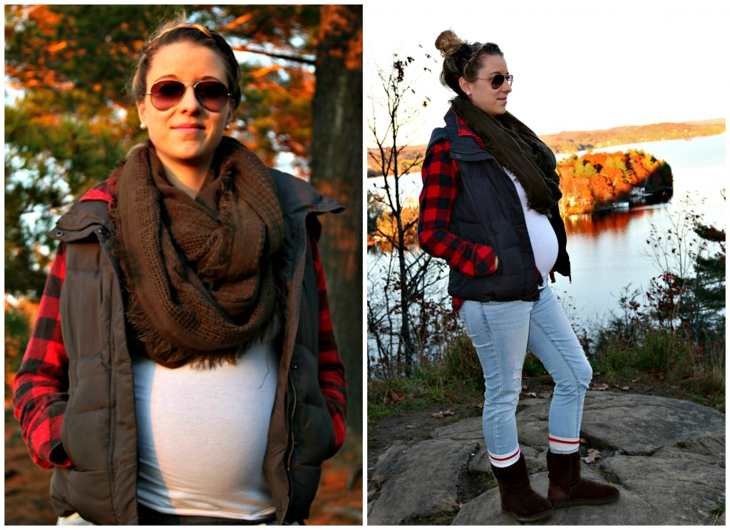 Happy Wife Happy Life maternity style ,jeggings, plaid, vest. Fall inspiration