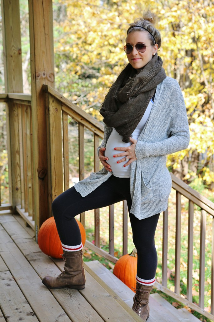 Happy Wife Happy Life maternity style, cozy sweaters and warm leggings a must!